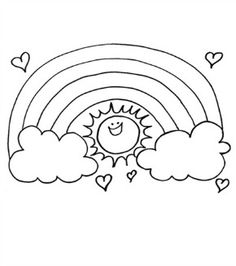 Rainbow Coloring Page Kids dream of rainbows with pots of gold at