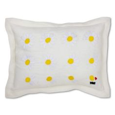 LOVES ME HAND-EMBROIDERED PILLOW - WHITE