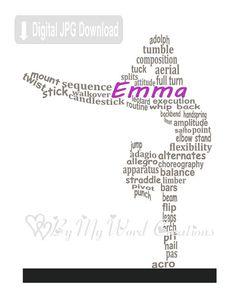 Gymnast Art, Girl Gymnast Word Art, Gymnastics Word Art, Gift for Gymnast, Personalized Word Art Typography, PRINTABLE…