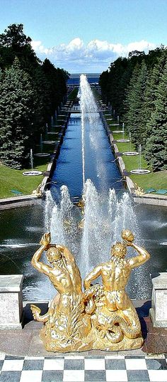 "See the Grand Cascade, a series of 64 fountains, 37 gilt statues and 3 waterfalls in Peterhof. The spectacular gardens are often regarded as ""Russia's Versailles""."