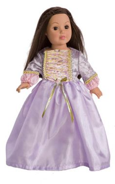 Deluxe Rapunzel Doll Dress fits 18 inch American Girl Dolls, Our Generation and Stuffed Toys