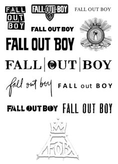 Evolution of the Fall Out Boy logo. HAVE to print this out for future tattoo ideas!