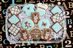 "Two orders last week for ""New Baby Boy"" cookies. I was happy to have a chance to ""re-do"" the bears I did this summer.  I was neve..."
