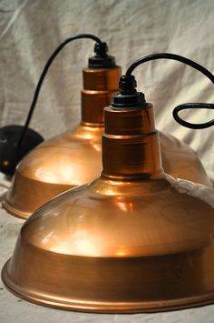 Copper Industrial lamps for the kitchen.