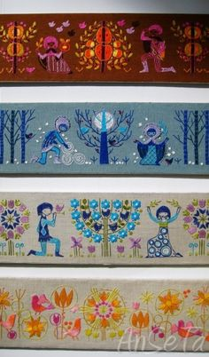 Vintage Scandinavian Embroidered Panels