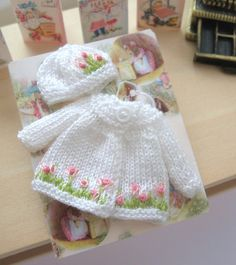 dollhouse baby doll knitted outfit matinee coat and hat 12th scale miniature by…