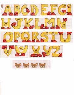 Schema punto croce Alfabeto giallo scarpe