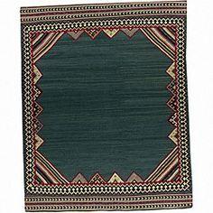 Nourison Hand-woven Mongol Kilim Green Wool Rug