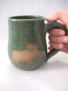 Green Forest Moose Mug Coffee Tea Cup  Brown Clay by pottersong, $22.00