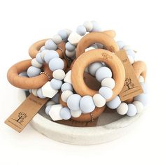 This Nature Bubz teething toy has been so very popular and we have more on their way in two new colourways. BPA free silicone beads interlocked with a beechwood ring finished with beeswax. Shop now at www.youngwillow.com.au