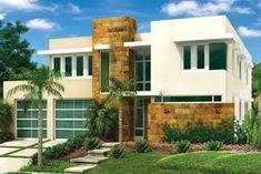 Fachadas de Casas Modernas: Fachada de casa contemporánea en ambiente tropical