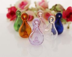 18x32MM Tear Drop Perfume vial pendant,Murano Glass diffuser Bottle Pendant necklace perfume oil aromatherapy charm Findings