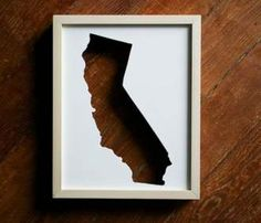 State Cut Out Frames - This would be a pretty easy DIY and I could choose my own frame and matting colors. Also - Oregon makes a WAY better state shape.