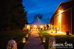 Oak Hills Farm Wedding Reception Tent & Lanterns