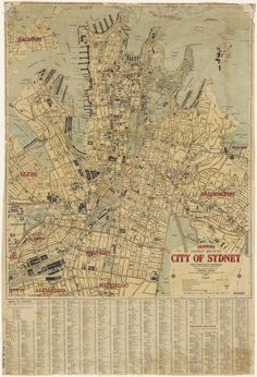 Map of the City of Sydney by State Records NSW Old Maps, Antique Maps, Vintage World Maps, Sydney Map, Sydney City, Geography Map, Map Globe, Treasure Maps, Map Design