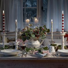 Brighten up the Christmas table and display your candles in our hand-painted festive candlestick, featuring a holly and heart motif. Shabby Chic Antiques, Shabby Chic Homes, Christmas Bird, Christmas Home, White Christmas, Susie Watson, Pottery Shop, Christmas Decorations, Table Decorations