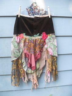 Autumn Rose Gypsy Skirt Upcycled Vintage Boho Style Reconstruct by Resurrection Rags, Sewing Clothes, Diy Clothes, Kitsch, Handkerchief Skirt, Altered Couture, Gypsy Skirt, Vintage Handkerchiefs, Karen, Vintage Embroidery