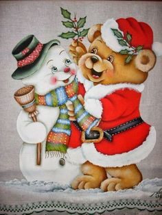Snowman and Bear Christmas Greeting Card Christmas Teddy Bear, Christmas Animals, Christmas Wood, Christmas Pictures, Christmas Snowman, Vintage Christmas, Christmas Time, Christmas Stockings, Christmas Crafts
