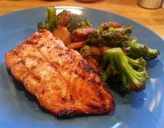 Grilled Teriyaki Salmon with Stir Fry Broccoli