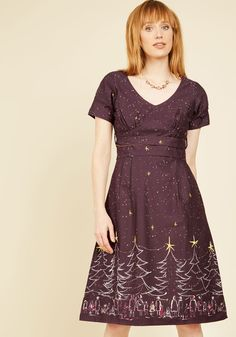 Frolicsome Foliage A-Line Dress in Holiday Cheer, @ModCloth