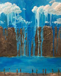 Zen Tainaka, Skyfalls, acrylic on canvas, 91x72.7x4cm, 2016