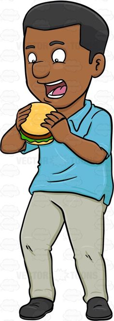 A Dark Haired Man Looking Excited To Taste A Hamburger #black #blackman #bread #bun #burger #burgerpatty #civilian #consumption #darkhair #darkhaired #eating #feeding #food #hamburger #human #humanbeing #individual #ingestion #intake #leggings #lettuce #male #maleperson #man #mortal #nutrient #pants #patty #person #sandwich #sesameseeds #shirt #shoes #single #somebody #someone #uptake #vector #clipart #stock