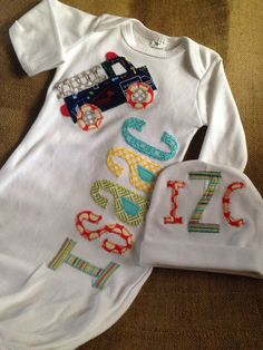 A personal favorite from my Etsy shop https://www.etsy.com/listing/250504650/personalized-applique-infant-baby-boy
