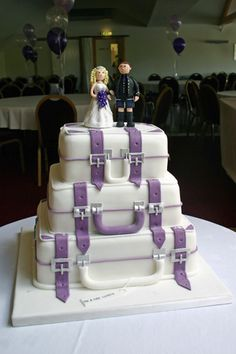 Wedding Cake - 3 Tier Suitcase & Personalized Cake Topper by Scrumptious Cakes (Paula-Jane), via Flickr