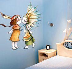 sticker decorativo infantil casal índio
