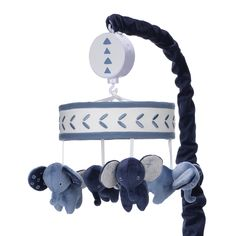 Design a playful environment for your little dreamer with the Lambs & Ivy Indigo Elephant Musical Mobile. Equipped with 3 soothing melodies, your baby will fall right to sleep while watching plush elephant pals gently spin. Elephant Crib Bedding, Baby Crib Bedding Sets, Elephant Nursery, Baby Cribs, Nursery Boy, Nursery Ideas, Room Ideas, Elephant Bleu, Little Elephant