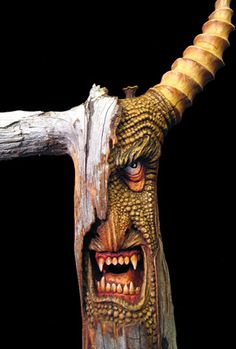 carved and painted driftwood Wood Carving Faces, Tree Carving, Wood Carving Patterns, Wood Carving Art, Wood Art, Wood Carvings, Walking Sticks And Canes, Walking Canes, Arte Black