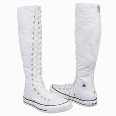 """White almost knee high converse """"NWOT"""" bought this for my daughter never wore! Zipper on back of shoes. One very light stain (reference picture due they are white so are prone to show any stain. Happy shopping Converse Shoes Lace Up Boots Knee High Converse, Knee High Sneakers, Converse Shoes, Knee High Boots, White Converse, Women's Shoes, Cute Shoes, Me Too Shoes, Converse Chuck Taylor Black"""