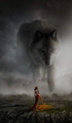 Girl asks great wolf spirit for her tribe/family/village/household will prosper? Plants will grow? Fantasy Wolf, Dark Fantasy Art, Fantasy Artwork, Beautiful Wolves, Animals Beautiful, Giant Animals, Wolf Artwork, Werewolf Art, Wolf Spirit Animal