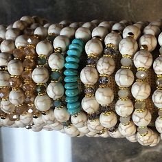 #armparty #armaddiction #armcandyoftheday #stacksonstacksonstacks #howlite #crystal #handmade #stretch