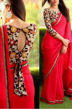 blouse designs latest Purchase the Red Georgette Lace Border Saree with Black Color Banglory silk Unstich Blouse. It contained the work of Multi with Lace Blouse which can be cu Cotton Saree Blouse Designs, Simple Blouse Designs, Stylish Blouse Design, Bridal Blouse Designs, Blouse Patterns, Choli Blouse Design, Dress Designs, Sari Design, Designer Kurtis