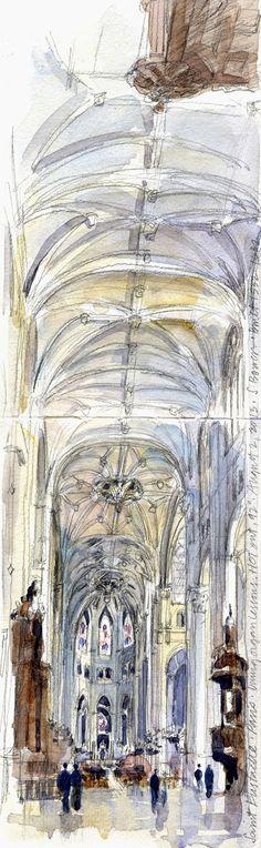 Drawing Perspectives: My favorite church, Saint Eustache, Paris.  Stephanie Bower