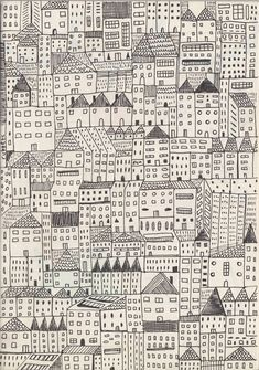 a little city #pattern #repetition #illustration