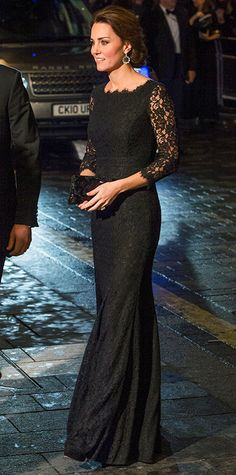 The Duchess of Cambridge wore a stunning black lace Diane von Furstenberg gown paired with a beaded black clutch, jewel-encrusted earrings, and a chic chignon for the Royal Variety Performance at the London Palladium