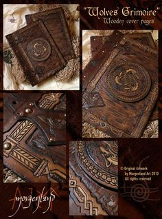 Morgenland Art Unique handmade creations get inspired from the old ages: Wolves Grimoire wooden cover pages Leather Book Covers, Leather Books, Journal Covers, Book Journal, Journals, Notebooks, Leather Carving, Magic Book, Leather Journal