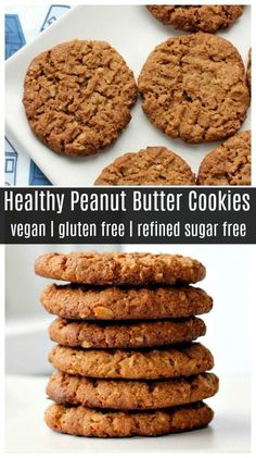 These healthy peanut butter cookies are made without refined sugar or flour! They're gluten free vegan and easy to make! These healthy peanut butter cookies are made without refined sugar or flour! They're gluten free vegan and easy to make! Dessert Sans Gluten, Bon Dessert, Healthy Dessert Recipes, Gluten Free Desserts, Gourmet Recipes, Whole Food Recipes, Easy Recipes, Healthy Breakfasts, Healthy Dinners