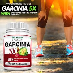Morpheme Garcinia 5X contains Blend of 5 Important Weight Managment natural ingredients: Garcinia cambogia, Green Coffee, Green Tea, Forskolin & Grape Seed. All the 5 important extracts are combined in a single veg capsule to make weight management more effective and easier