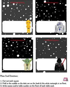 tons of star wars party printables for free! place cards, banners, favor boxes, colour sheets, etc. pin now, read later