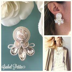 Veronique Creazioni Soutache Earrings, Diamond Earrings, Beach Crafts, Diy And Crafts, Soutache Tutorial, Earring Trends, Shibori, Fiber Art, Ribbon