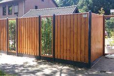 Backyard Fences, Garden Fencing, Backyard Landscaping, Door Gate Design, Fence Design, Back Gardens, Outdoor Gardens, Outdoor Pergola, Outdoor Decor