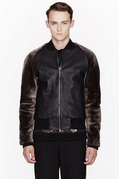 A.SAUVAGE Dark Brown Leather Shearling-Trimmed Bonas Bomber Jacket