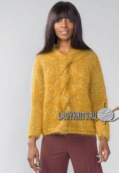 Вязаный спицами простой модный свитер. Описание для размеров от XS до XXL
