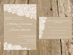 Lace Wedding Invitation Suite  customize with by jlcprintables, $15.00