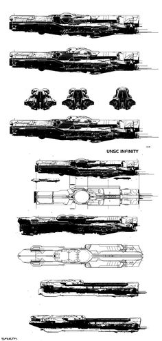 Halo 4 - Infinity spaceship concepts.Microsoft - 343 Industries.