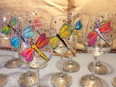 These hand painted glasses are perfect for the dragonfly or nature lover. Do you know what dragonflies symbolize??? A dragonfly is a symbol