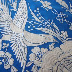 Vibrant Blue Canton Silk Shawl w/ Birds  Circa early 1900's, a stunning silk canton shawl with superb embroidery.